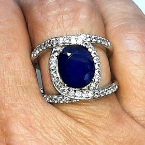 Natural Blue Sapphire & White Zircon Ring